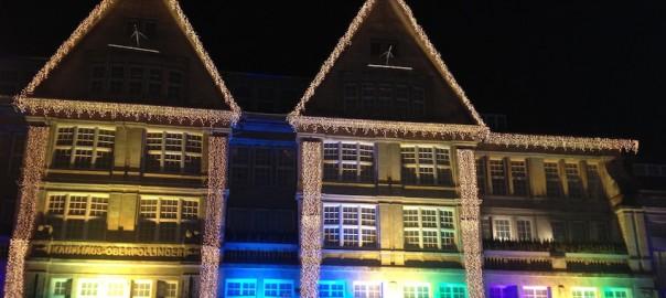Weihnachtsbeleuchtung am Oberpollinger in München.